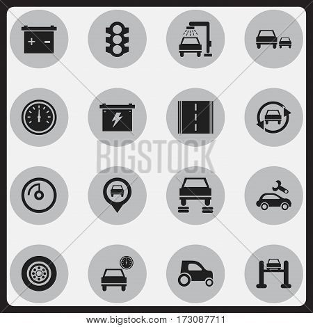 Set Of 16 Editable Transport Icons. Includes Symbols Such As Auto Service, Accumulator, Tire And More. Can Be Used For Web, Mobile, UI And Infographic Design.