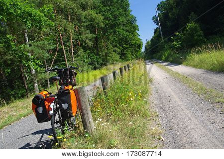 bicycle an bicycle lane in brandenburg germany