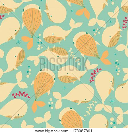 Seamless pattern with underwater ocean animals cute whales colorful vector illustration