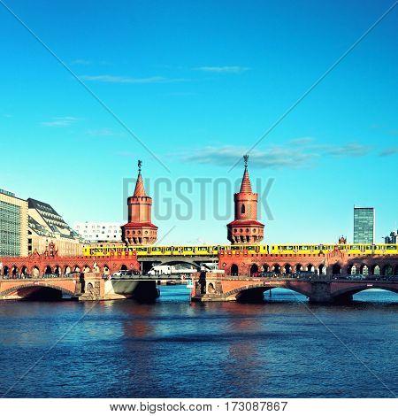 oberbaum bridge  and spree in berlin germany