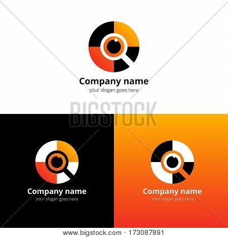 Eye search, quest, scan Logo design vector template. Colorful find media icon symbol. Creative Vision Logotype concept. Colorful Eye with yellow-orange color logo vision.