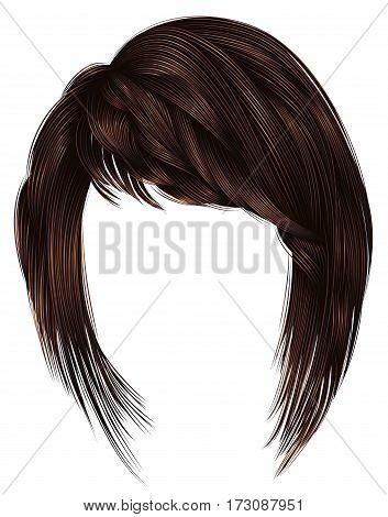 trendy  woman  hairs kare with fringe  . dark  brown   color .  medium length . beauty style . realistic  3d .