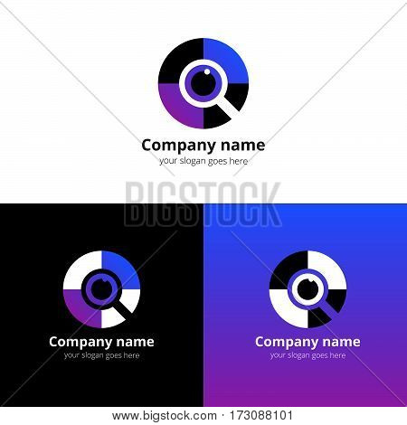 Eye search, quest, scan Logo design vector template. Colorful flat find media icon symbol. Creative Vision Logotype concept. Colorful Eye with violet-purple gradient color logo vision.