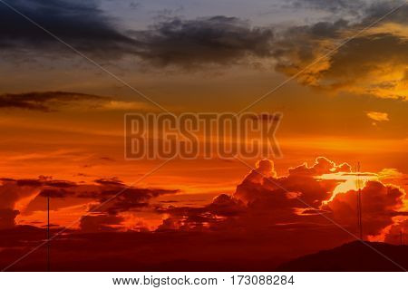 sky red in sunset and cloud beautiful colorful evening nature space for add text