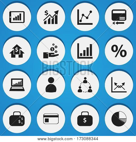 Set Of 16 Editable Statistic Icons. Includes Symbols Such As Percent, Bar Chart, Graph Information And More. Can Be Used For Web, Mobile, UI And Infographic Design.
