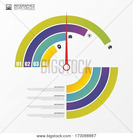 Colorful round percent lines. Indographic design. Vector illustration