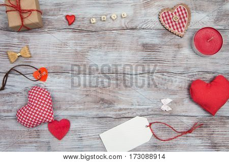 Festive Background For Valentines Day. Red Hearts And Other Decorations