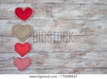 Heart Sewn From Fabric On Rustic Wooden Background. Valentines Day