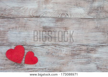 Light Wood Background And Two Small Red Hearts In Corner