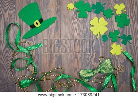 Holiday Decorations For Day Of Saint Patricks Hat, Bow, Shamrock.