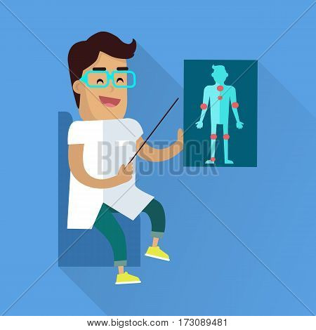 Doctor at work illustration. Vector in flat style design. Medical Lecture. Smiling male character in white gown showing with pointer on sick human figure picture. On blue background with shadow