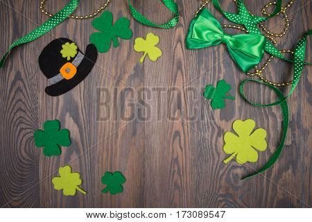 Traditional Irish Symbols Black Hat, Clover Leafs And Bow Tie