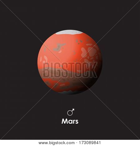 Vector Mars on dark background with symbol