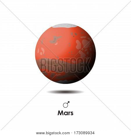 Vector Mars on white background with symbol