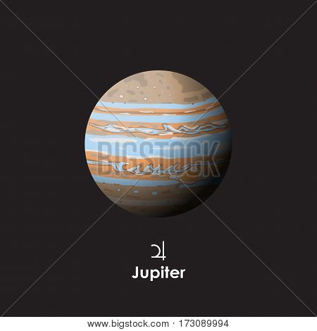 Vector Jupiter on dark background with symbol