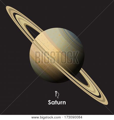 Vector Saturn on dark background with symbol