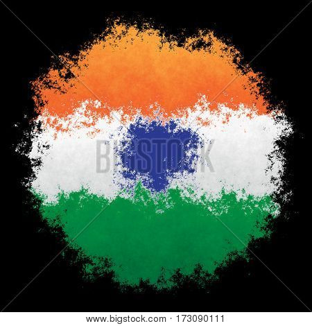 Color spray stylized flag of India on black background