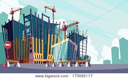 Vector cartoon illustration of the process of the construction of buildings with construction crane. Cartoon banner construction site