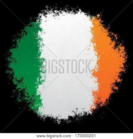 Color spray stylized flag of Ireland on black background