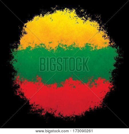 Color spray stylized flag of Lithuania on black background