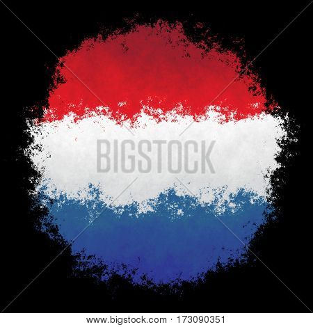 Color spray stylized flag of Netherlands on black background