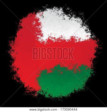 Color spray stylized flag of Oman on black background