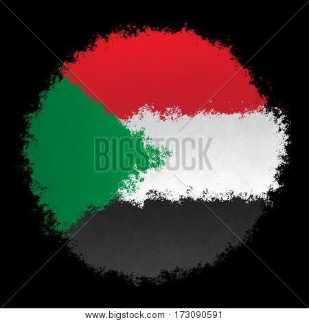 Color spray stylized flag of Sudan on black background
