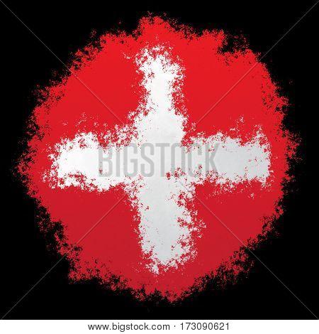 Color spray stylized flag of Switzerland on black background