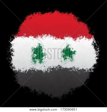 Color spray stylized flag of Syria on black background