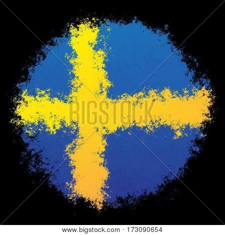 Color spray stylized flag of Sweden on black background