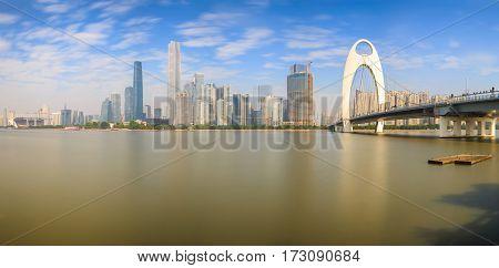 Panorama urban landscape of Guangzhou city at sunshine day China