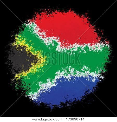 Color spray stylized flag of South Africa on black background