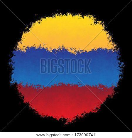 Color spray stylized flag of Venezuela on black background