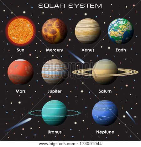 Vector set of gradient planets on dark background. Our Solar System.