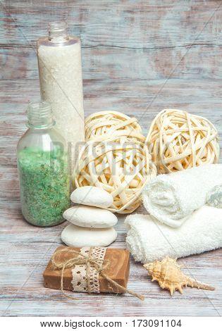 Sea Salt, Natural Soap, Towel, Stones And Shells. Spa And Wellness