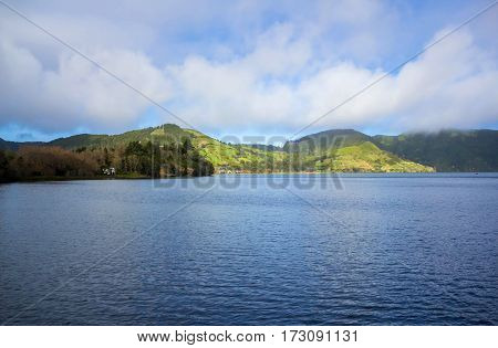 Lake Sete Cidades on the island Sao Miguel, the Azores, Portugal
