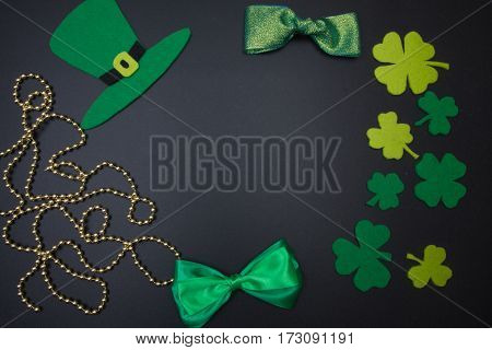 Traditional Irish Party Supplies St. Patrick On Black Background