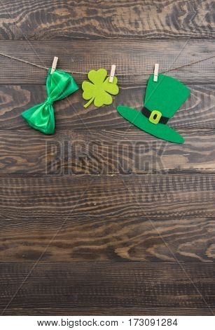 Green Hat, Satin Bow And Quatrefoil Clover On Clothespins. St. Patricks Day