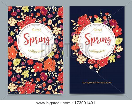 Elegant floral collection with isolated flowers hand drawn on banners. Spring flowers. Design for invitation wedding or greeting cards. Vector illustration.