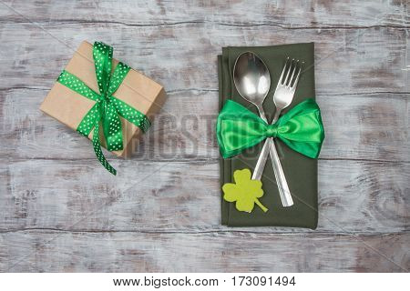 Cutlery, Bow And Gift On The Table. St.patrick 's Day
