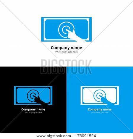 Financial adviser logo design layout. Business and finance creative icon concept. Money symbol template. Paid touch icon with flat trend blue color on white and black background.