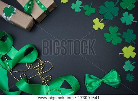 Irish Background On Black Chalkboard St. Patricks Day