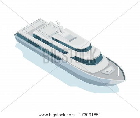 Yacht isometric projection icon. Personal luxury boat vector illustration isolated on white background. Speed vessel for travel and rest. For game environment, transport infographics, logo, web design