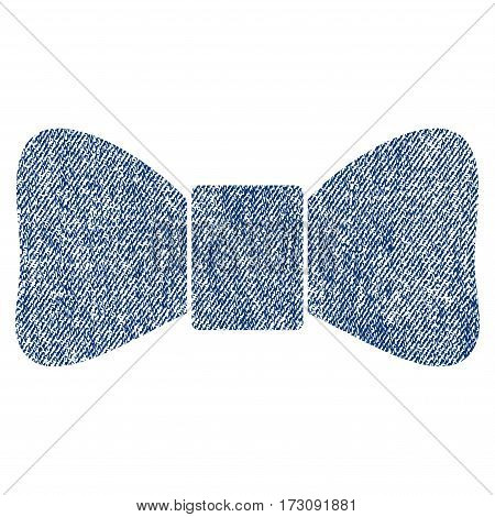 Bow Tie vector textured icon for overlay watermark stamps. Blue jeans fabric vectorized texture. Symbol with scratched design. Blue ink rubber seal stamp with fiber textile structure.