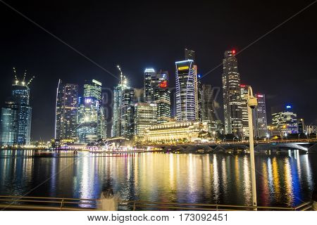 Skyline Of Singapore At Night