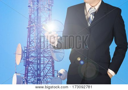Businessman Working Smartphone, With Double Exposure Blue Sky Telecommunication Towers Arranged As A