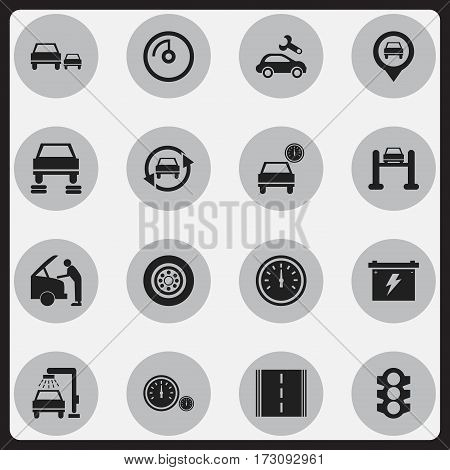 Set Of 16 Editable Vehicle Icons. Includes Symbols Such As Speed Control, Vehicle Wash, Highway And More. Can Be Used For Web, Mobile, UI And Infographic Design.