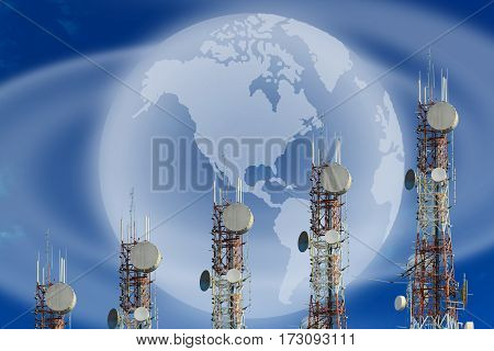 Telecommunication Towers Arranged As A Bar Chart. On Blue Sky Background.