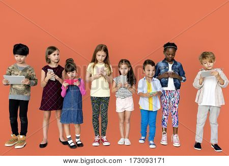 Children Browsing Digital Devices Concept