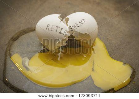 Retirement broken nest egg in frying pan concept